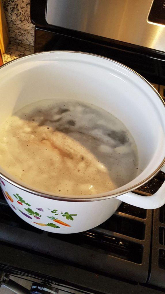 foam on split pea soup